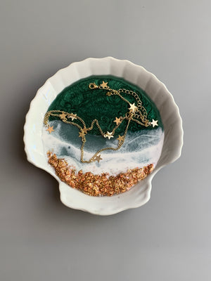 "Shell Ring Dish - 5""- Beach Scene"