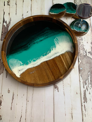 Emerald Island Acacia Wooden Tray with Set of 4 Coasters