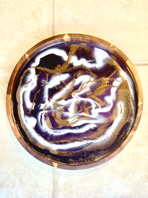 Acacia Wood Resin Tray: Eggplant