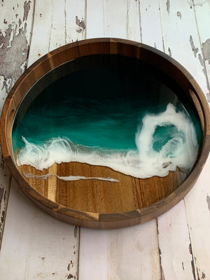 Emerald Seascape Acacia Resin Tray