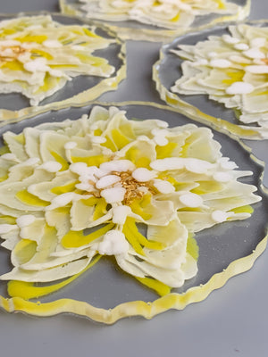 3D Floral Coasters - Yellow Petals