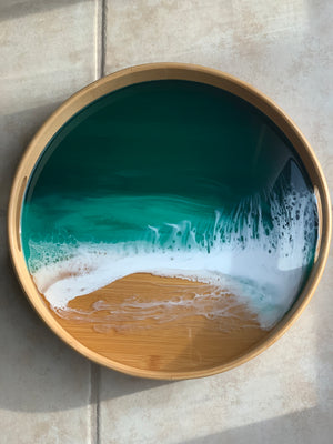 Emerald Seascape Bamboo Tray