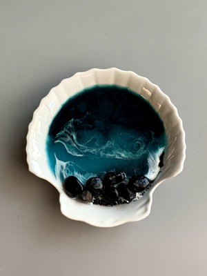 "Shell Ring Dish - 5""- Ocean Scene"