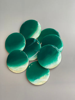 Round Emerald Beach Wooden Coasters