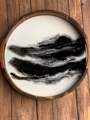 Acacia Wood Resin Tray - B&W