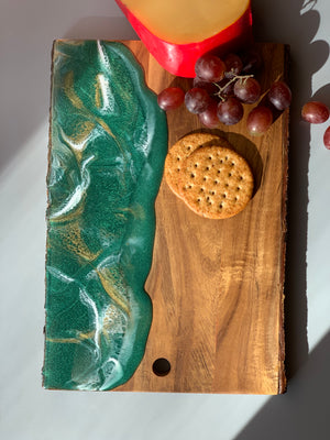 Live Edge Serving Board - Emerald with Gold Edge