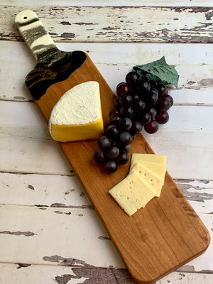 Cherry Wood Serving Board 20'- Black & White