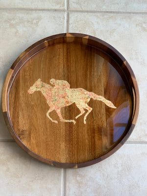 Acacia Wood Resin Tray - Race Horse