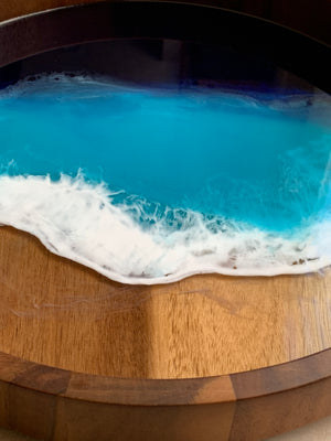Acacia Wood Resin Tray - Ocean Blue