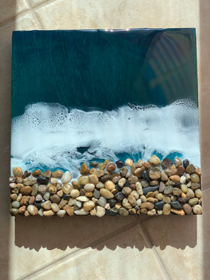 3D Resin Art - Beach Rocks - 12x12in