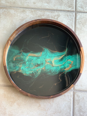 Acacia Wood Resin Tray: Emerald