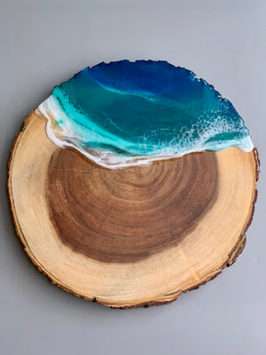 Wooden Live Edge Ocean Serving Board