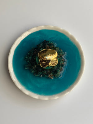 Golden Owl Ring Dish: 2' Round