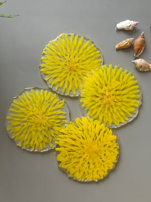 3D Floral Yellow Coasters