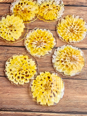 3D Yellow Dahlia Coasters - Set of 4