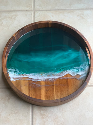 Acacia Wood Resin Tray - Emerald Island