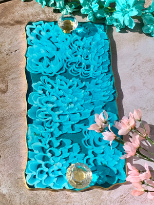 3D Floral Tray: 12' Dahlia Turquoise + Wine Caddy
