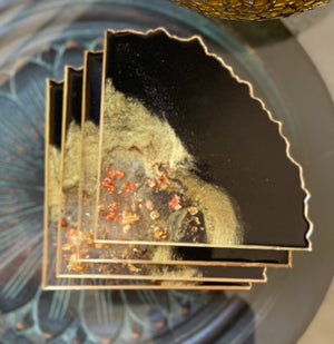 Drink Coasters - Black & Gold