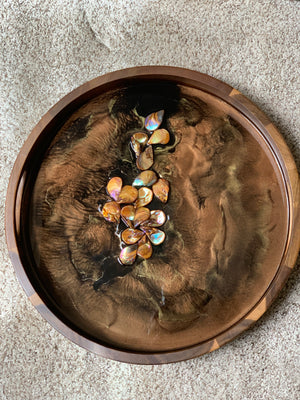 Acacia Wood Resin Tray - Seashells