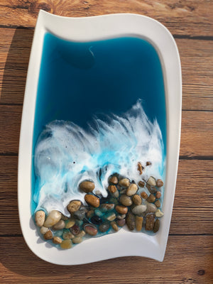 Ocean Wave Porcelain Decorative/Jewelry Dish: Set of 2