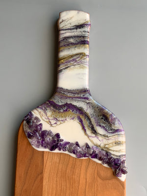 Wine Bottle Cheese Board with Amethyst Stones