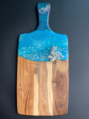 Wooden Cheese Board with Quartz Crystals