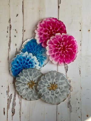 6 Mixed Dahlia Coasters