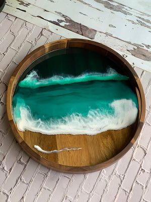 Emerald Seascape Acacia Resin Tray- Custom Order