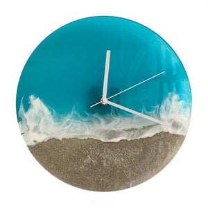 Turquoise Beach Waves Wall Clock 12""