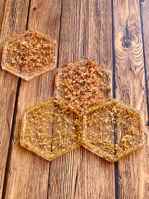 Mixed Gold Leaf Drink Coasters
