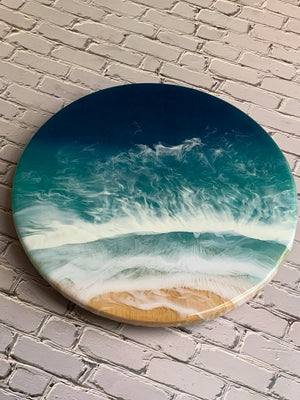 Lazy Susan Ocean Art Bamboo Wood Tray