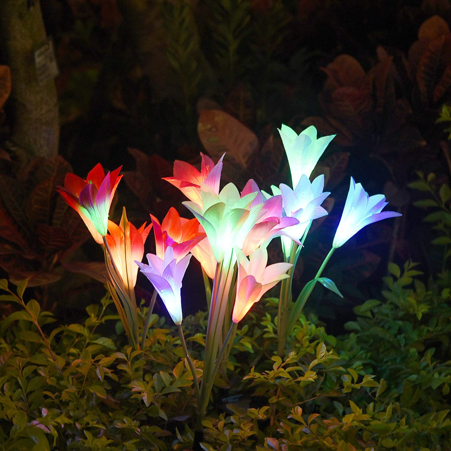 50% Off Today Only!-Spring Artificial Lily Solar Garden Stake Lights(1 Pack of 4 Lilies)