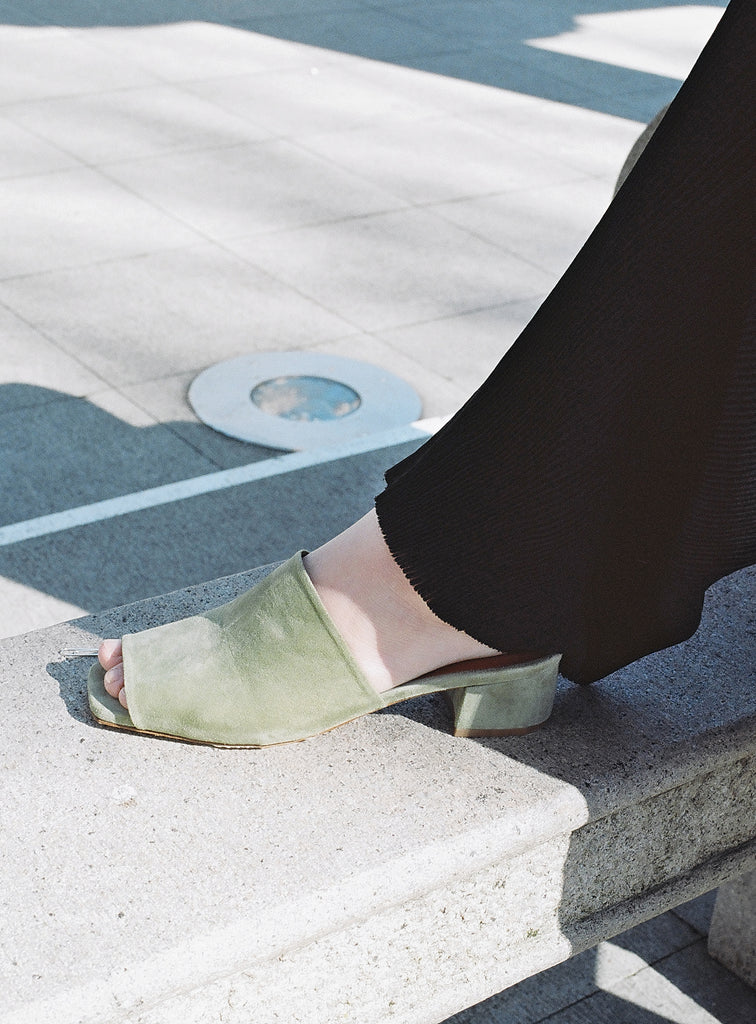 By Far Scandi Mule, Green Suede
