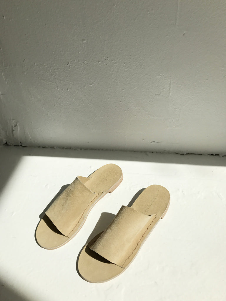 Laura Schoorl Suede Slides - Tan