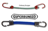 Ordinary bungee cords vs SuperBungee cord - 5-10x the usefulness of ordinary bungees due to patented braid design for stretch and strength