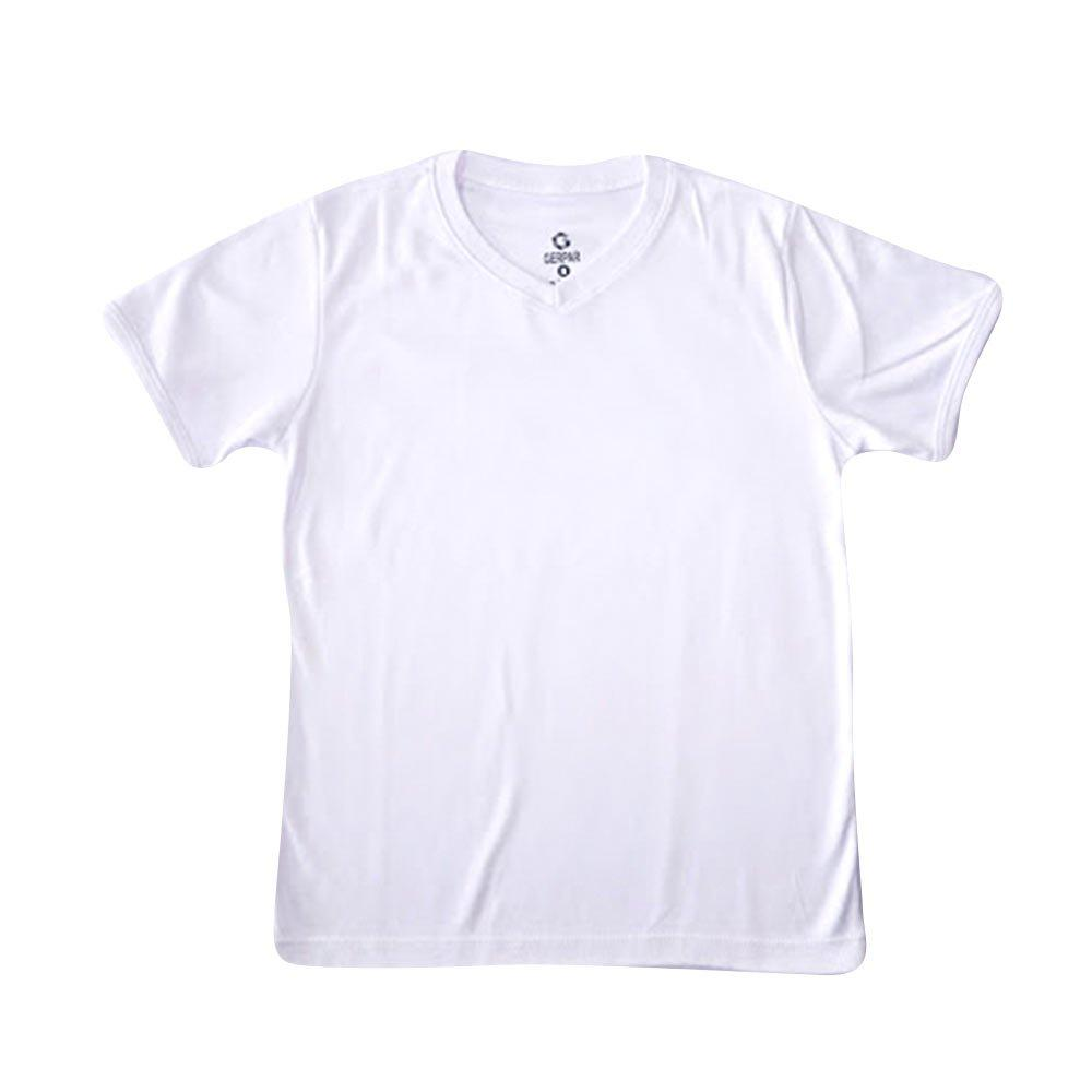 camiseta cuello v tela lisa blanco talla 16 color blanco