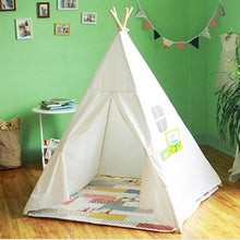 Load image into Gallery viewer, Four Poles Children Teepees Kids Play Tent Cotton Canvas Teepee White Playhouse for Baby Room Tipi