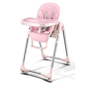 Portable High Chair For Baby Foldable Baby Highchairs for Feedding Adjustable Booster Seat For Dinner Table With Four Wheels