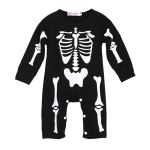 ute Halloween clothes Kids Boys Girls Warm Infant Cool Human Skeleton Long Sheeve Jumpsuit Cotton Festival party Costume
