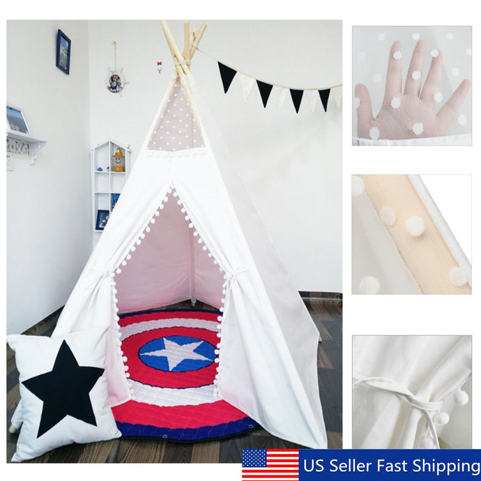 Indian Play Tent White Teepee Children Playhouse