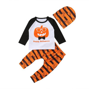 Baby Toddler Boys Girls Long Sleeve Pumpkin Happy Halloween T-Shirt Top Outfits