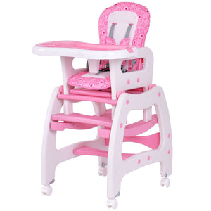 Pink Costway 3 in 1 Baby High Chair