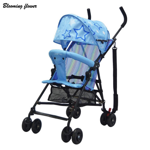 Blue Blooming Flower Umbrella Stroller