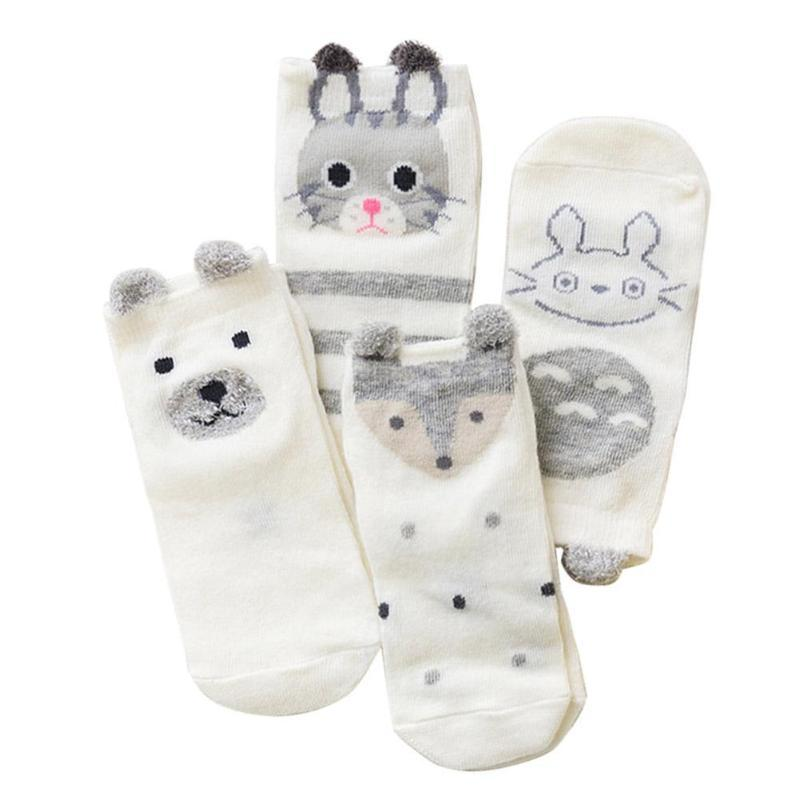 JOCESTYLE 4 Pairs Baby Ship Socks Kids Soft Cute Cartoon Animal Cotton Jacquard Breathable Thin Casual Foot Wear Socks Set