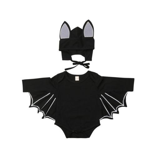 Halloween Costume Newborn Baby Boy Clothing Bodysuit Long Sleeve Wing Jumpsuit Hat 2pcs Cute Clothes Baby Boys 0-18M