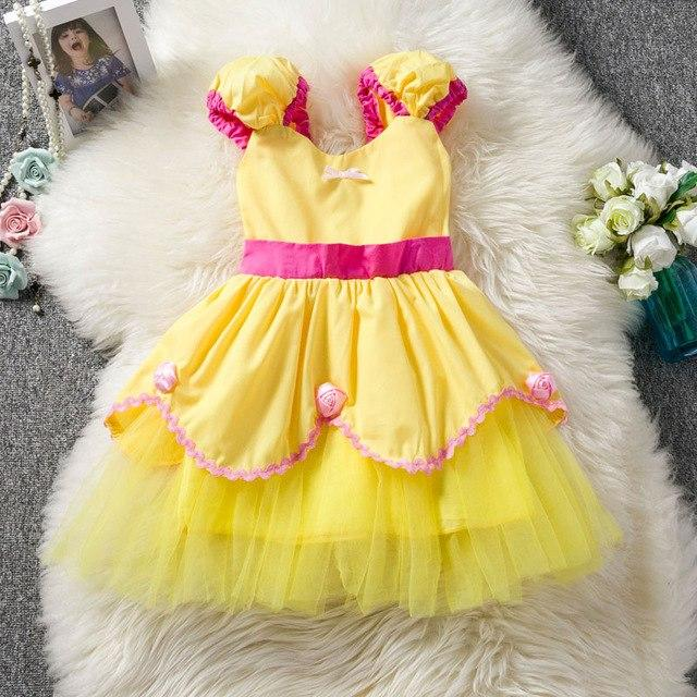 Halloween Costume Princess Girl Belle Dress Fancy Tutu Cinderella Dress Up Baby Kids Party Dresses For Girls Children Clothing