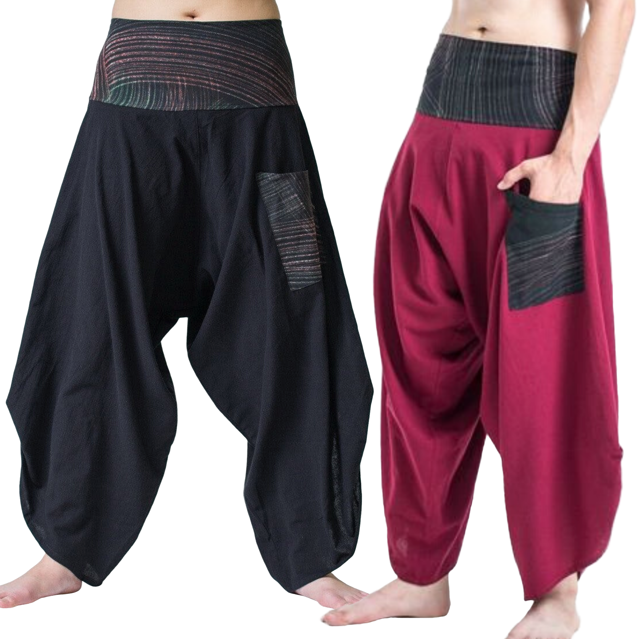 Button Up Thai Hill Tribe Trim Unisex Pants