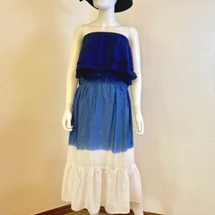 3 In 1 Indigo Tie Dye Smocked Dress