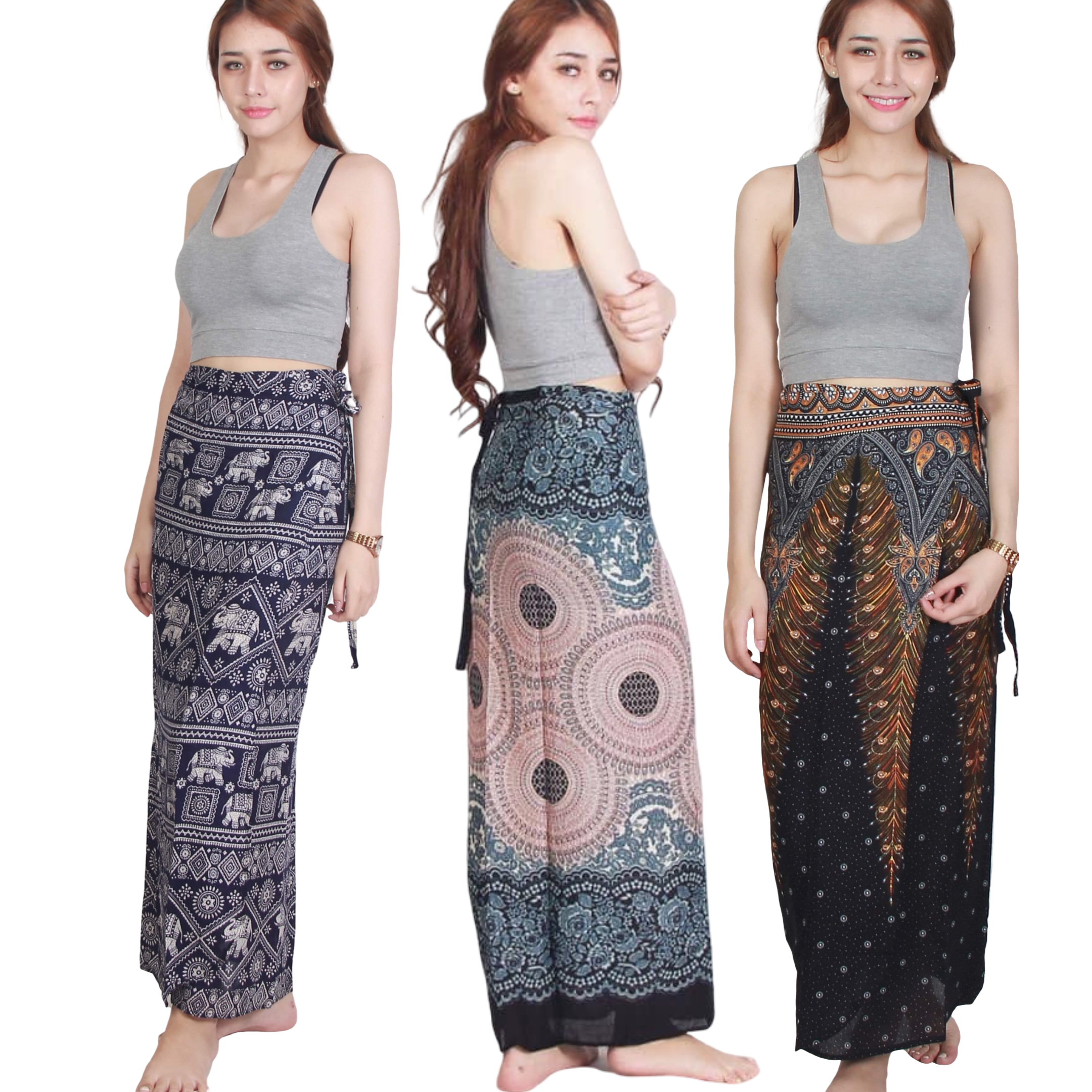 Boho Chic Thai Print Wrap Skirt