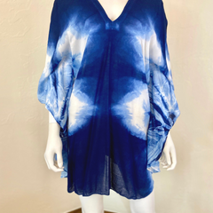 Tie Dye Mimi Dress/Cover-up Blouse Bat Wing Sleeves